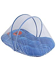 Littly Contemporary Velvet Baby Bedding Set with Foldable Mattress, Mosquito Net and Pillow (Blue)