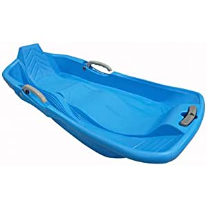Snow Sleds Luge Classic Plastic Double Seat Sledge with Brake - Toboggan Bobsleigh Blue