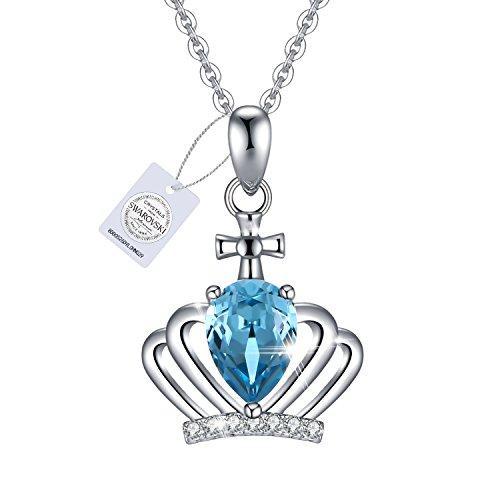 VEECANS Collar Mujer con Cristales Azules...