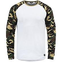 Solid Cajus Camiseta De Manga Larga Camuflaje Estilo Militar Estampada  Longsleeve para Hombre con Cuello ! cf31070e593