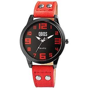 QBOS Damenuhr Schwarz Rot Analog Metall Leder Quarz Armbanduhr