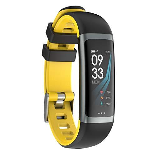 POIUDE Intelligente Uhr Wasserdicht G26 Smart Watch Sport Fitness Aktivität Herzfrequenz Tracker Blutdruck Uhr(Gelb, Standby für 7 Tage)