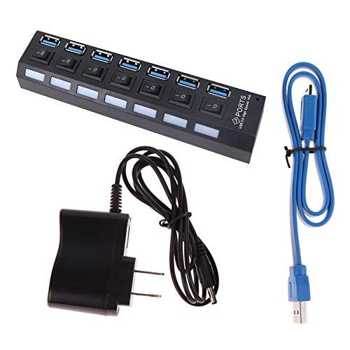 CLTech 7 Port USB 3.0 Hub mit Energiesparschalter Kabel Netzteil Stromversorgung Ultra Slim Extra Leicht für Apple MacBook, Windows Laptops und Ultrabooks, sowie PCs (for EU)