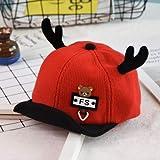 ChildHat 2018 Hut für Kinder,Säuglingshutbabykinderbaseballkarikaturgeweihvisierkind Warmer Woolen Sonnenhut, rot, eine Größe