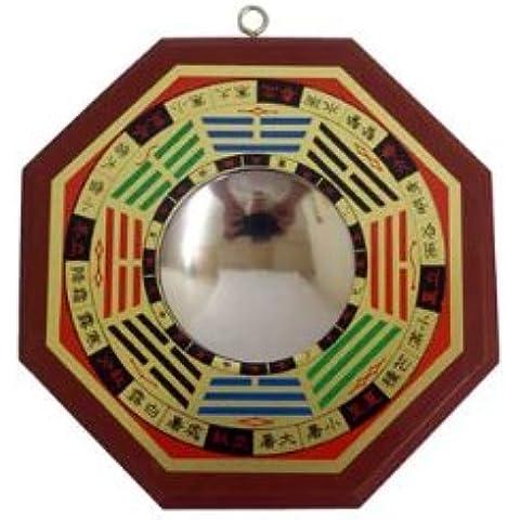 Spiritual Gifts Specchio Bagwa per proteggere da energie negative, forma ottagonale, cornice in legno (specchio convesso inarcato verso l'esterno), diametro specchio: 5cm; diametro totale con telaio in legno: 12cm, Feng Shui
