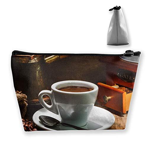 Schwarzer Kaffee war Löffel Trapez Frauen Kosmetiktaschen Multifunktionswäsche Aufbewahrungstasche -