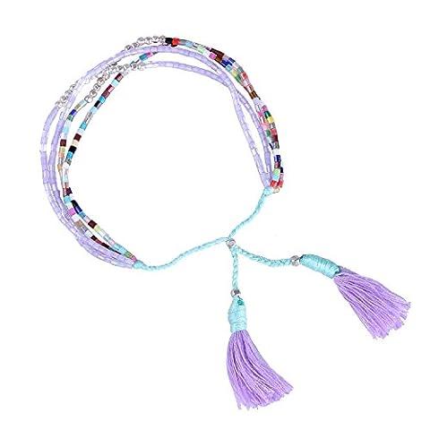 KELITCH Coloré Seed Perles Mince Slim Corde Chaîne Multi Strand Femme Bracelet Bijoux Avec Violet