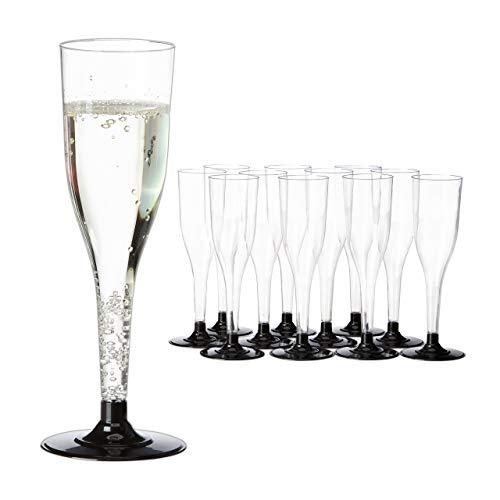 Relaxdays Lot de 12 flûtes à Champagne jetables empilables en Plastique Transparent/Noir 0,1 l