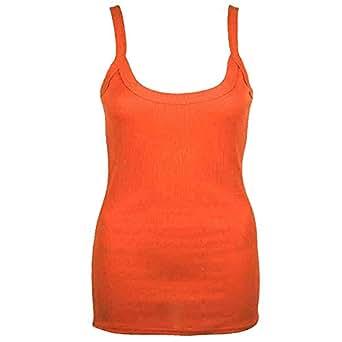 Ribbed Strappy Cami Vest Top-Orange-10