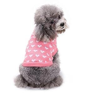 vêtement Chien Angelof Habit Pull Tricot Pour Chien Rose Coeur Rond Cou Petit Chien Animal Mignon VêTements Chiot Chandail