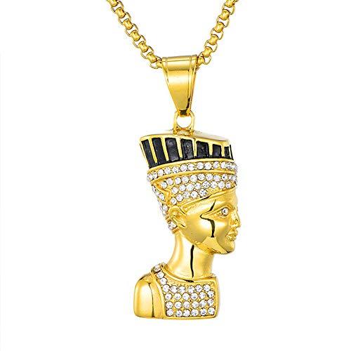 J.Memi.Men Edelstahl Halskette Hip Hop Von Königin Ägypten Portrait Anhänger Überzug Gold Schmuck Hochzeitstag Familie Freund,B