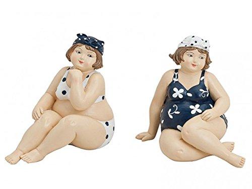 2er Set Badenixen aus Poly - Figuren sitzende Frauen im Badeanzug - Maritime Dekoration b13h12t8cm