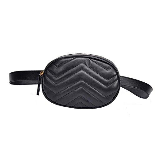 VJGOAL Damen Bauchtasche, Damen Mode Solide Reine Farbe Leder Messenger Schulter Urlaub Arbeit Brust kleine Taschen (Schwarz) -