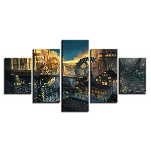 ZTTPCP 100×55cm Malerei Modulare Kunstwerk 5 Stücke HD Gedruckt Gebäude Und Zahnrad Landschaft Leinwandbilder Wandkunst Dekor Wohnzimmer -
