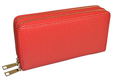 Pochette femme simili Cuir- double fermeture éclair - Pratique et élégante - couleurs au choix Rouge