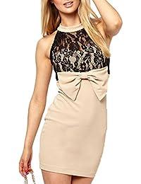 02f13326ca5f ABILIO - abito donna mini vestito pizzo cerimonia vestiti donna vestitino  fiocco