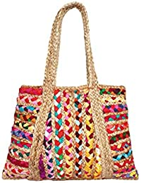 HabereIndia Girl's Jute Chic Tote/Hand Bag (Multicolour)
