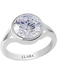 Clara Certified Zircon 9.3cts or 10.25ratti Zoya Silver Ring For Men & Women