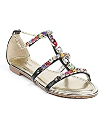 Ideal Shoes - Sandales plates avec brides incrustées de strass Victoirine