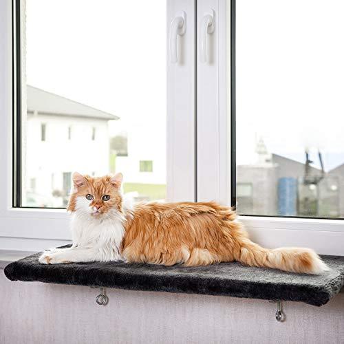 CanadianCat Company ® | Snuggly Place | Large | Anthrazit | gepolsterte Liege- Aussichtsplattform | ca. 75x35 cm