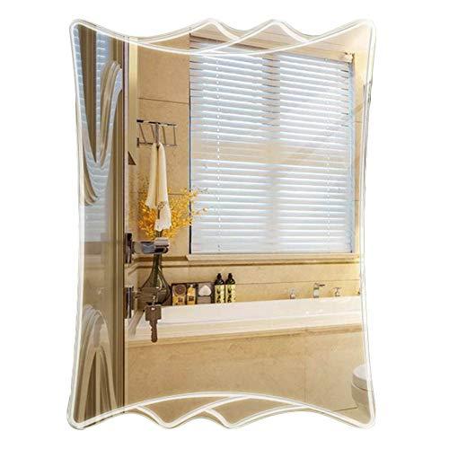 DH JINGZI - Schminkspiegel Spiegel Wandbehang rahmenlose Badezimmer einfach und modern Haken montiert Ultra transparent Silber Spiegel, 5MM Dicke, 3 Größen (Farbe : Silber, größe : 50x70cm)