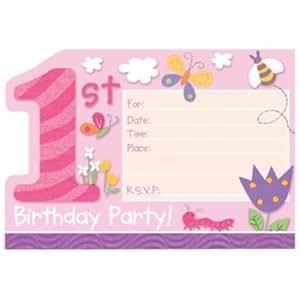 "8 cartes d'invitation 1er anniversaire Spécial fille ""Happy 1st Birthday"" avec enveloppes"