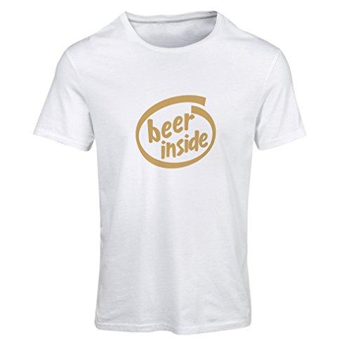 Maglietta Donna Beer Inside - Per gli amanti della birra, logo divertente, regalo umoristico, pub, bar, abbigliamento da festa Bianco Oro