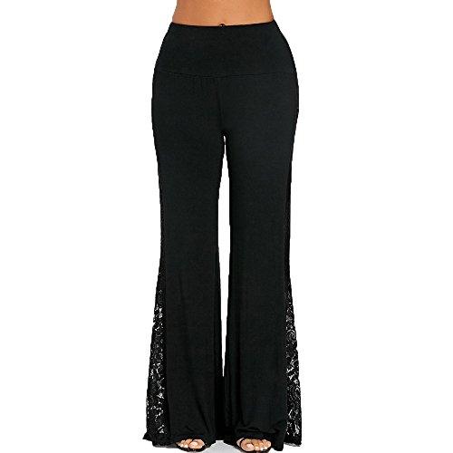 YWLINK 2018 Damen Kleidung,Mode Frauen Hohe Taille Schwarz Perspektive Spitze EinfüGen Breites Bein Hosen Leggings Lose Hosen