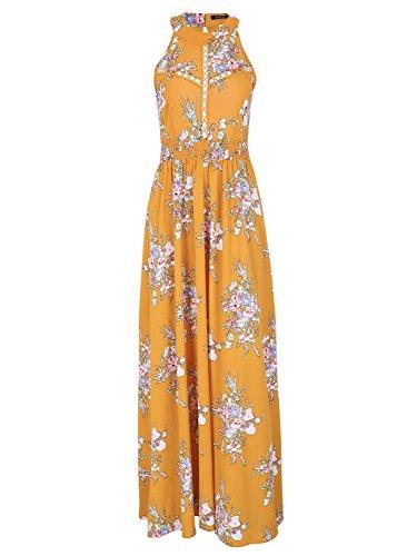 Missy Chilli Damen Lang Kleid Sommer Elegant Ärmellos Neckholder Blumen Rückenfrei Chiffon Maxi Kleid Dress mit Schnürung Gelb
