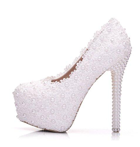 Hochzeit Party Schuhe Für Braut Frauen Spitze Faux Perlen 14CM High Heels Frühling Herbst 4.5Cm Plattform Runde Zehe Handgemachte Komfort Kleid Schuhe Weiß,White,EU39 (Handgemachte High Heel Heels)