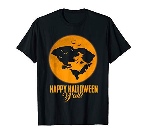 Happy Halloween Y'all South Carolina Witch Map T-shirt - South Carolina Rot Shirts
