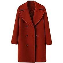 Abrigo de mujer Chaqueta de mujeres Moda Suelto Invierno Calentar Manga larga Botón Sólido De lana Abrigo Outwear Rompevientos Cárdigan LMMVP (XL, Rojo)