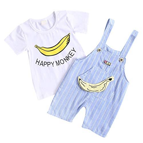 Baby Outfit Banane Latzhose Hose und T-Shirt 2 Stück Outfit Unisex für Junge Mädchen (Kids Banane Kostüme)