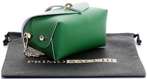 Borsa da sera Mini piccolo Micro spalla a tracolla pelle italiana con tracolla a catena in metallo.Include sacchetto protettivo marca Verde