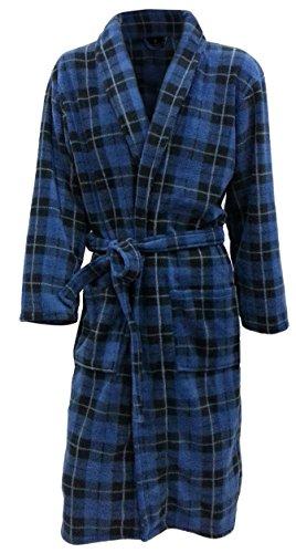 Robe de chambre en polaire à carreaux bleu - Homme (XL)