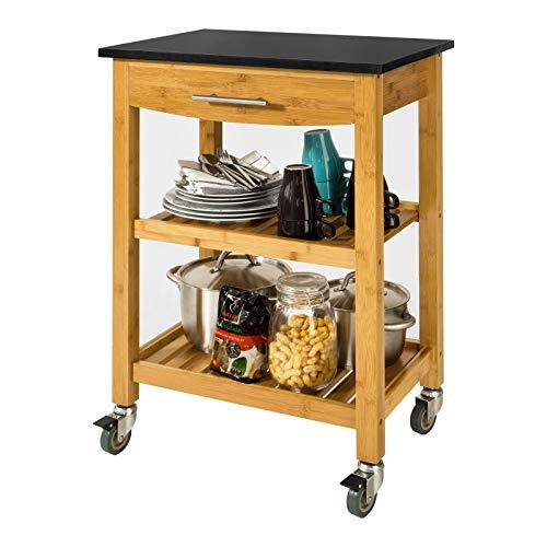 SoBuy® FKW28-SCH Chariot de cuisine de service roulant, Desserte sur roulettes en bambou, Etagère de la cuisine, Plateau en Granit L58xP40xH87cm (Noir)