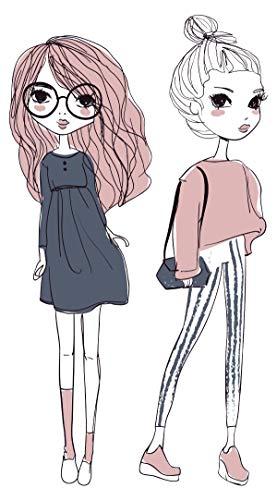 Wandtattoo Fashion Mädchen mit niedlicher Kleidung in Pastell Mode Wandsticker