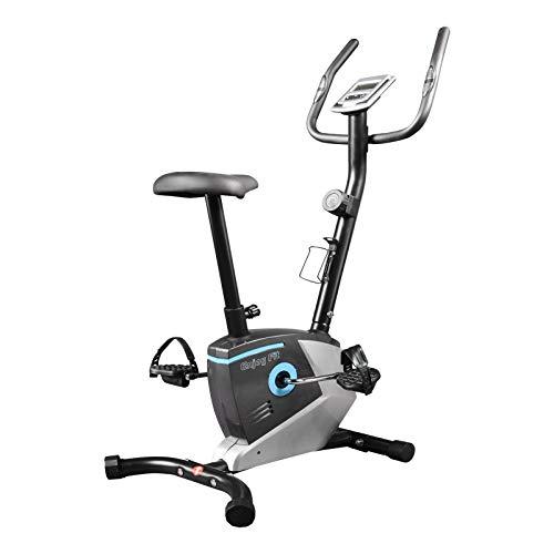 EnjoyFit Heimtrainer Fahrradtrainer mit Handpuls-Sensoren silber/blau