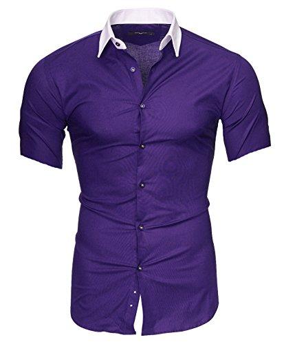 Kayhan Uomo Camicia Maniche Corte, Maimi Purple (M)