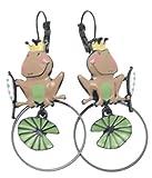 Pendientes Lolilota rey rana de hoja de loto marrón