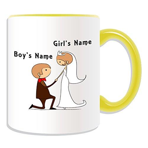 Personalisiertes Geschenk-vorschlagen auf Knie Tasse (Bräutigam & Braut Design Thema, Farbe Optionen)-alle Nachricht/Name auf Ihre einzigartige Tasse-Paar Verlobungsring Vorschlag, keramik, gelb -