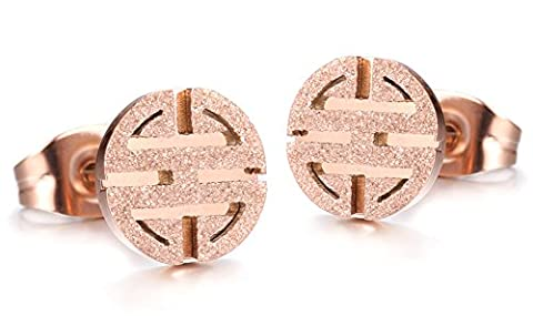 SaySure - 18k rose gold plated jewelry Titanium Stainless Steel earrings
