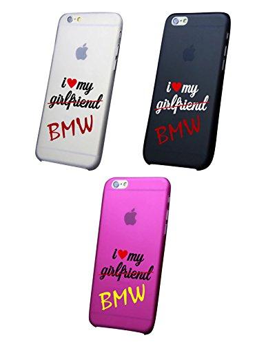 Cover IPHONE X-8-8PLUS 6 - 6 PLUS - 6S - 6S plus - 7 - 7 plus - I LOVE MY BMW Trasparente VARI COLORI UltraSottili AntiGraffio Antiurto Case Custodia (IPHONE X, NERO)