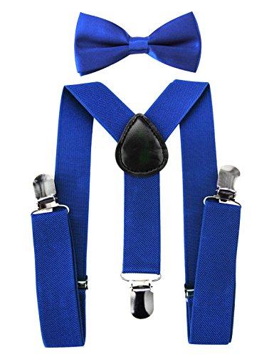 axy Hochwertige Kinder Hosenträger-Y Form mit Fliege- 3 Clips Extra STARK-Uni Farben (Blau)
