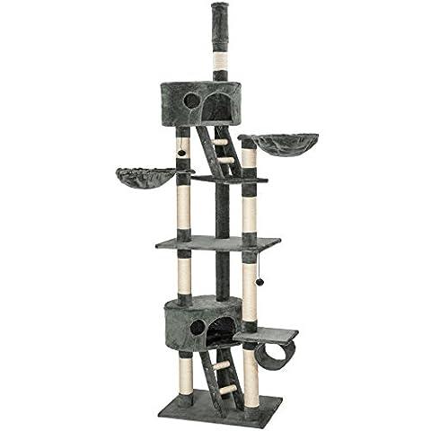 TecTake Kratzbaum Katzenbaum für Katzen grau - deckenhoch (höhenverstellbar von 240-260cm)
