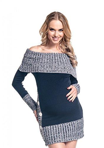 Happy mama donna prémaman vestito maglia lungo maglione pullover. 913p (marina, 42/46)