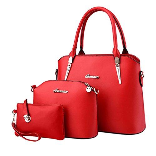 Baymate Damen Elegant Leder Handtaschen Schulter Beuteltote Schultaschen Hobo Set Rot