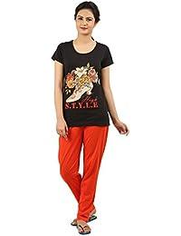 New Darling Womens Black Top & Pyjama Set