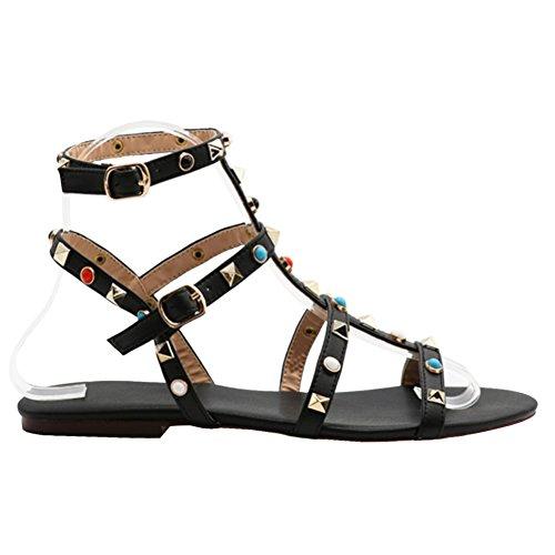 MERUMOTE Damen Schuhe Nieten Dekoration Riemen Rom Sommer Sandalen Schwarz-Stud 39 EU (Strappy Sandalen Heel Platform)