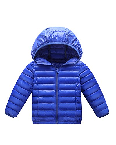 Garcons Filles Veste Matelassée Doudoune Ultra Light Blouson Enfant Manteau À Capuche Saphir Bleu 120